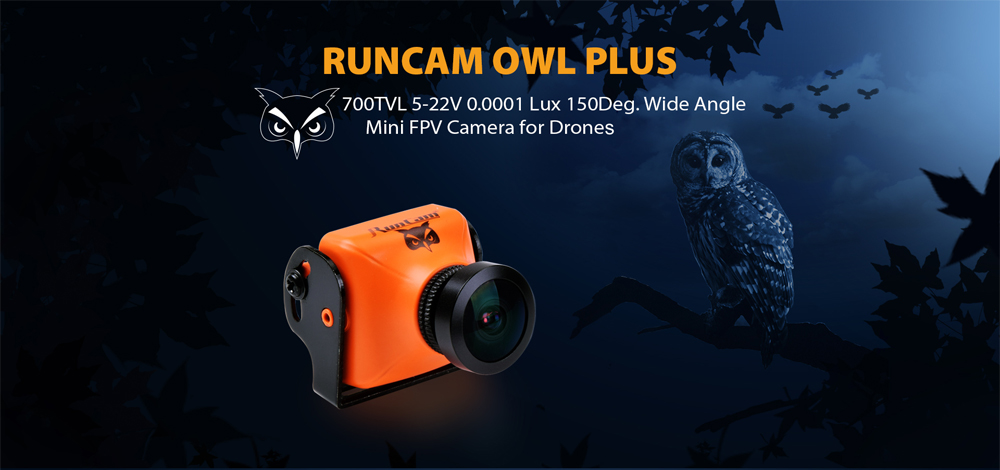 RUNCAM OWL Plus 700TVL 0.0001 LUX 150 Degree FOV 5 - 22V FPV Camera