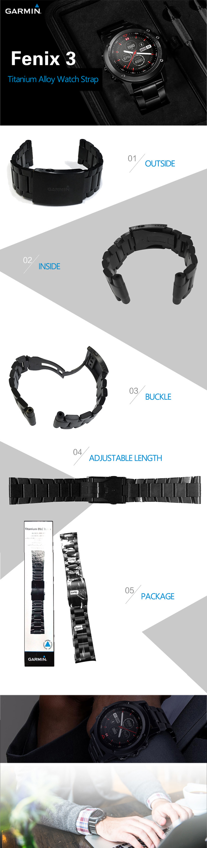 Garmin Watch Band with Titanium Alloy Material for Fenix 3