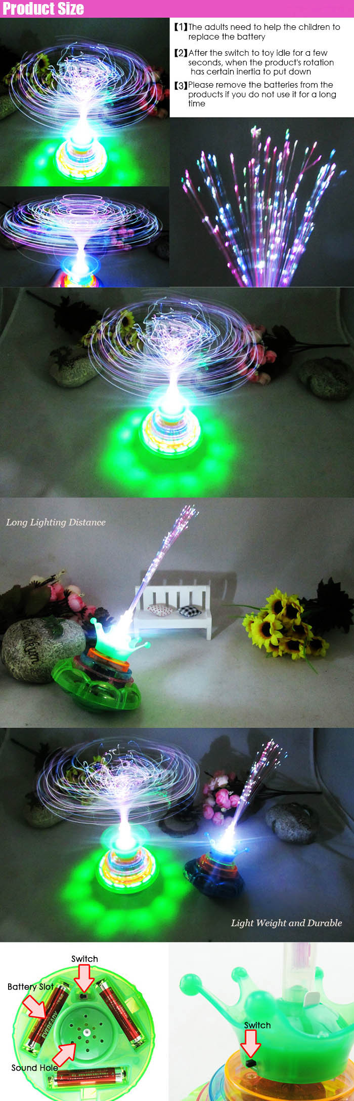 Plastic LED Light Spinning Top Lovely Gyroscope - 1pc