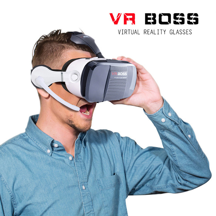 VR BOSS Virtual Reality 3D Glasses with Earphones for 4.7 - 6.2 inch Smartphone 120 Degrees FOV