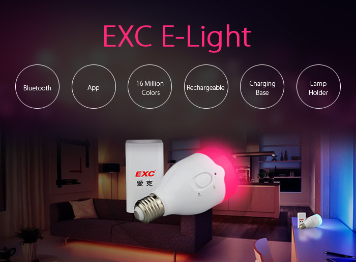 EXC E - Light Rechargeable RGBW LED Smart Bulb Desk Lamp Bluetooth 4.0 Dimming