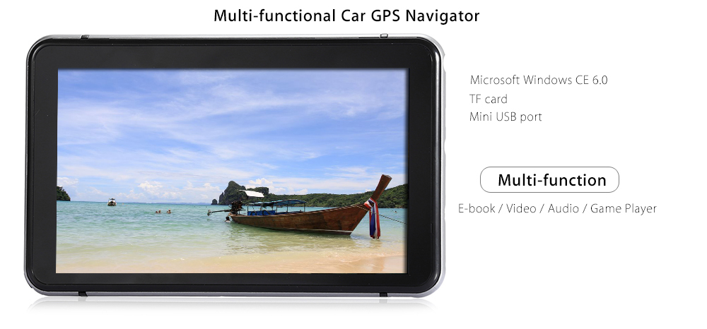 706 7 inch Truck Car GPS Navigation Navigator with Free Maps Win CE 6.0 / Touch Screen / E-book / Video / Audio / Game Player