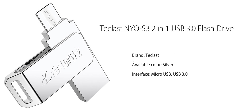 Teclast NYO - S3 64GB 2 in 1 USB 3.0 Flash Drive Micro USB Memory Storage Gadget