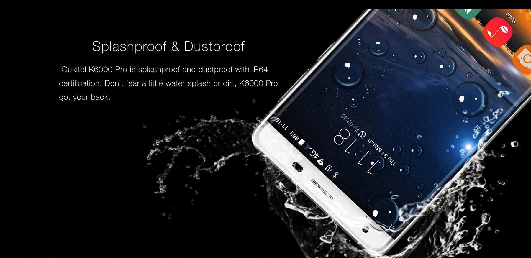 Oukitel K6000 Pro Android 6.0 6000mAh 4G Phablet 5.5 inch 2.5D Arc Dragontrail Glass Screen MTK6753 64bit Octa Core 3GB RAM 32GB ROM 16MP Rear Camera Press Fingerprint Sensor