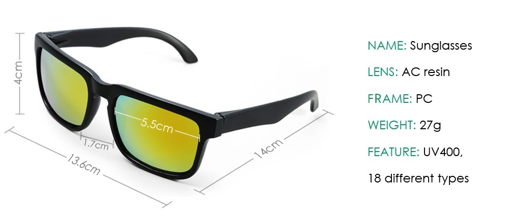 Outdoor Stylish UV400 Sunglasses with AC Resin Lens