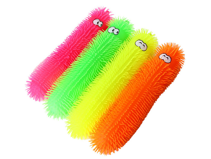1pc Creative Flash LED Light Up Caterpillar Elastic Squeeze Vent Toy for Kid