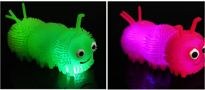 1pc Creative Flash LED Caterpillar Elastic Squeeze Ball Vent Toy for Kid