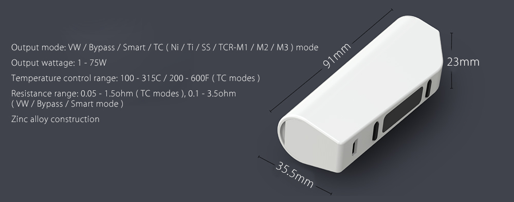 Original ELEAF ASTER 75W TC Box Mod with 1 - 75W / 200 - 600F / VW / Bypass / Smart / TC ( Ni / Ti / SS / TCR - M1 / M2 / M3 ) Mode for E Cigarette
