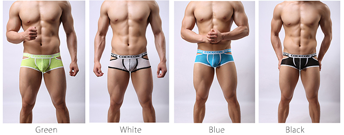 COCKCON Men Sexy Hollow Out U Convex Pouch Mid-waist Boxers