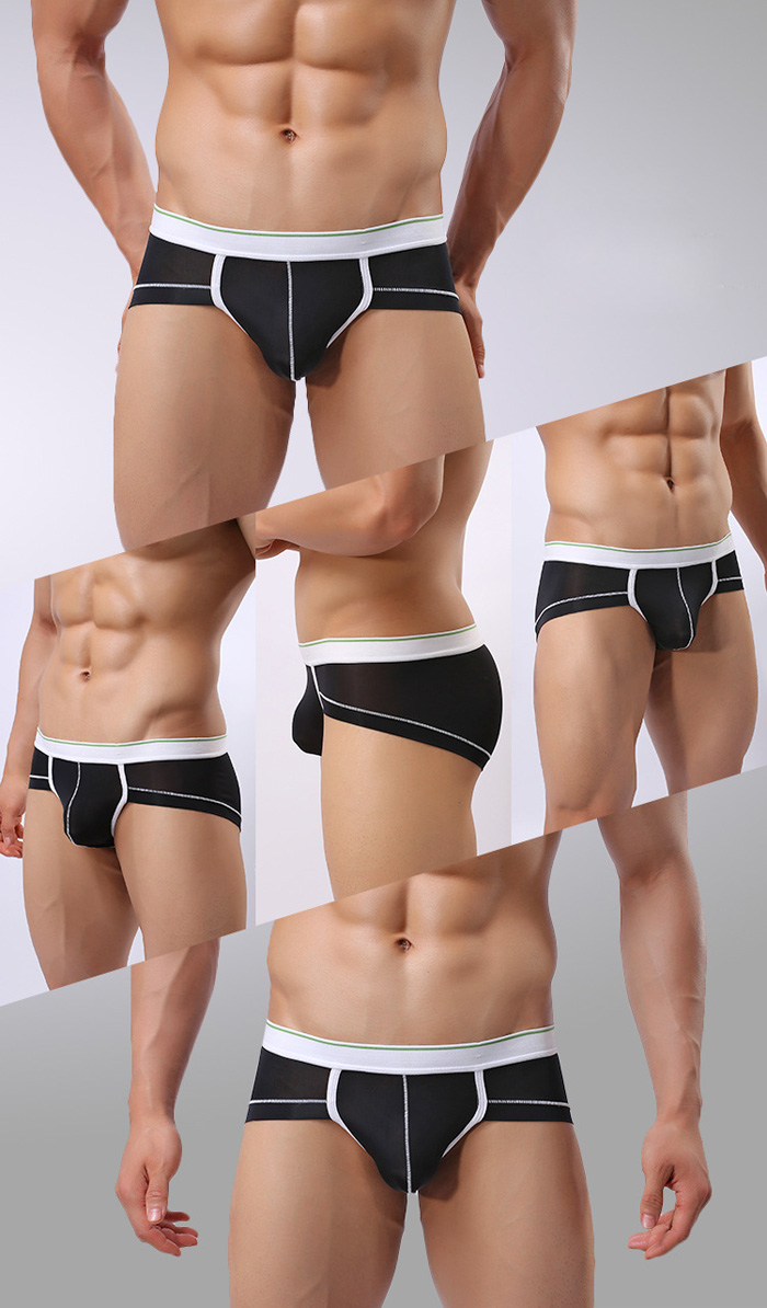 Male Splicing Color Mid Waist Refreshing Sexy Briefs
