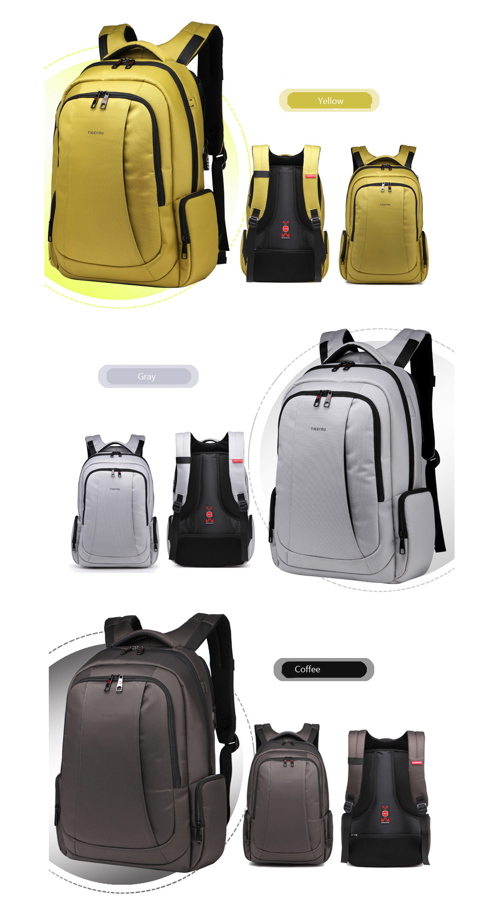 TIGERNU T - B3143 - 01 17 inch Professional Business Laptop Backpack for Outdoor Travel