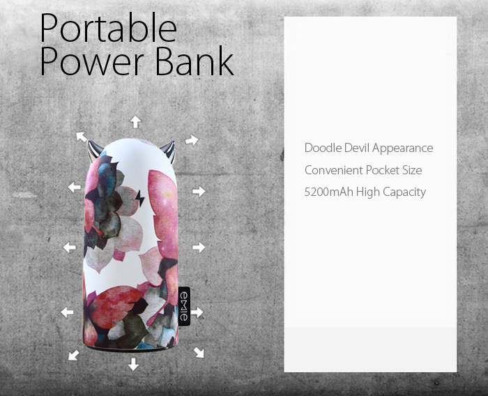 EMIE Portable 5200mAh Devil Volt Power Bank + USB Devil Light