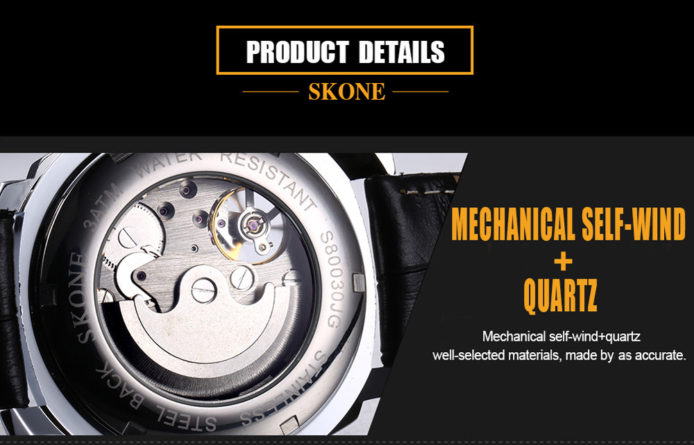 SKONE 1094 Classic Dual Movements Men Watch with Working Sub-dial