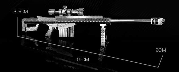 ZOYO 3D Metal Sniper Rifle Style Metallic Building Puzzle Educational Assembling Toy