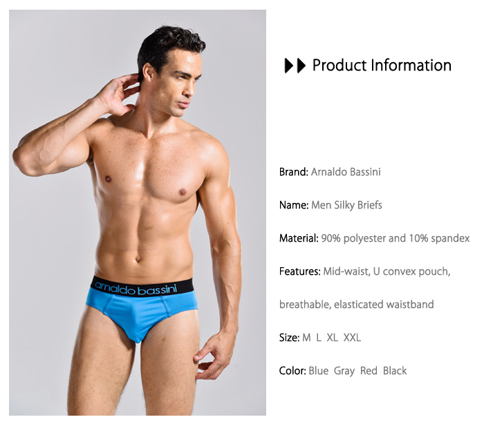 Arnaldo Bassini Silky Mid-waist U Convex Pouch Briefs for Men