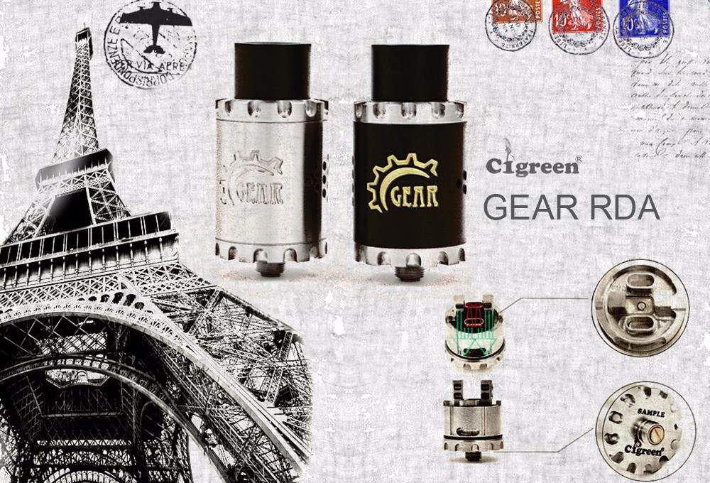 Original Cigreen GEAR RDA Mini 22mm with Dual Terminal 2 Posts Build Deck / Redirected Adjustable Airflow / Dual Bottom Airslots E Cigarette Rebuildable Dripping Atomizer