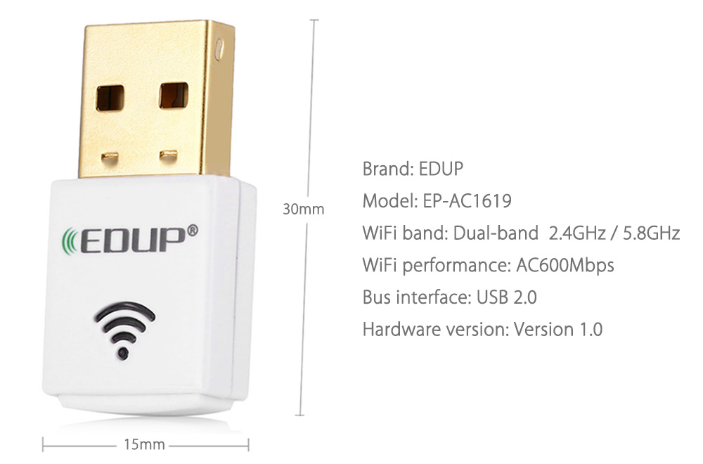 EDUP EP - AC1619 11AC 600Mbps Dual-band Wireless Networking Adapter 2.4GHz / 5.8GHz USB WiFi