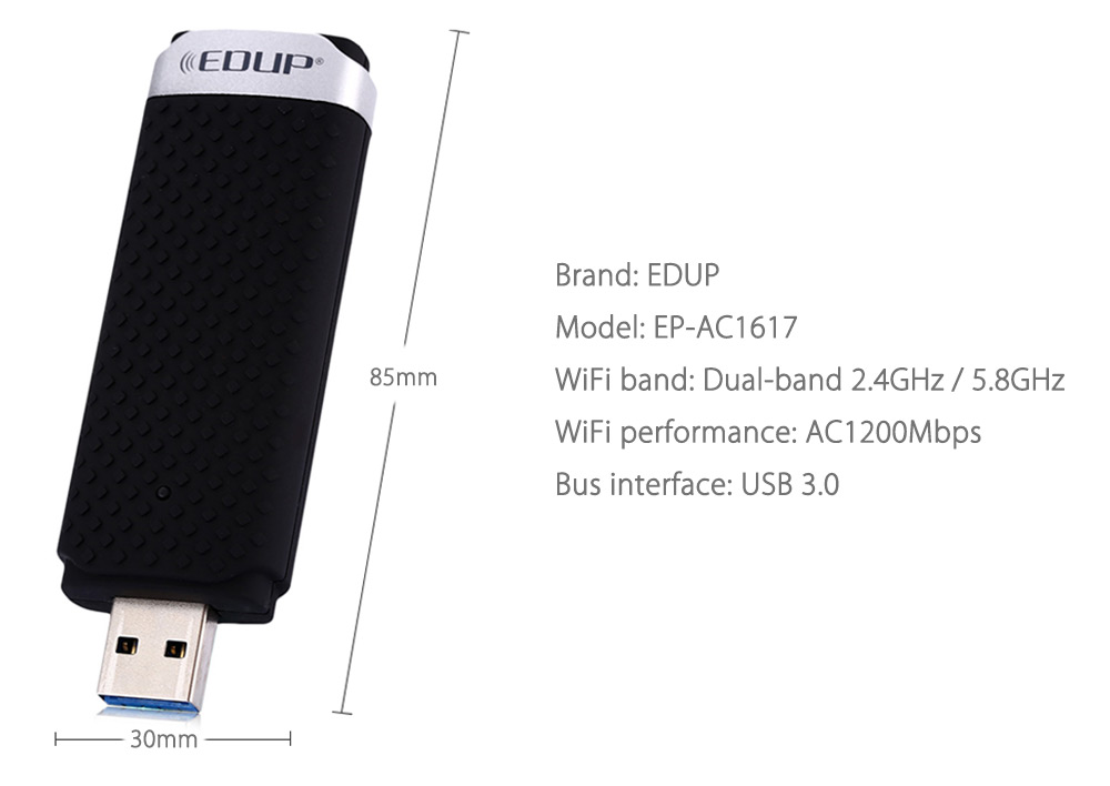 EDUP EP - AC1617 11AC 1200Mbps Dual-band Wireless Networking Adapter 2.4GHz / 5.8GHz USB 3.0 WiFi