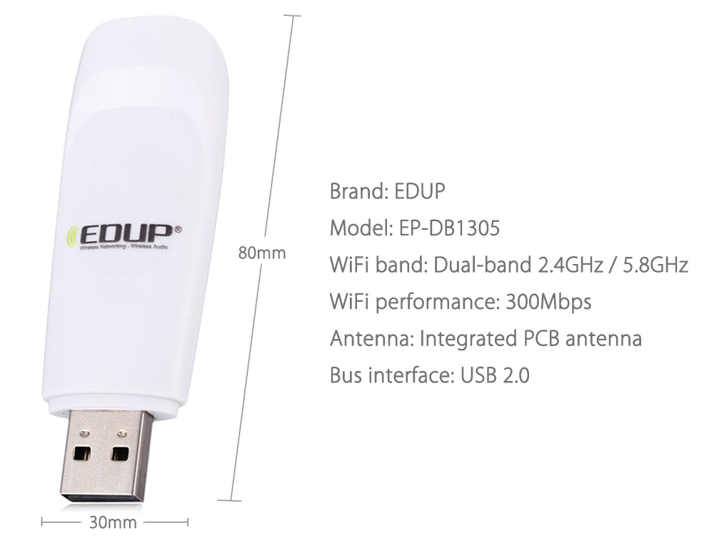 EDUP EP - DB1305 300Mbps Dual-band Wireless Networking Adapter 2.4GHz / 5.8GHz USB WiFi