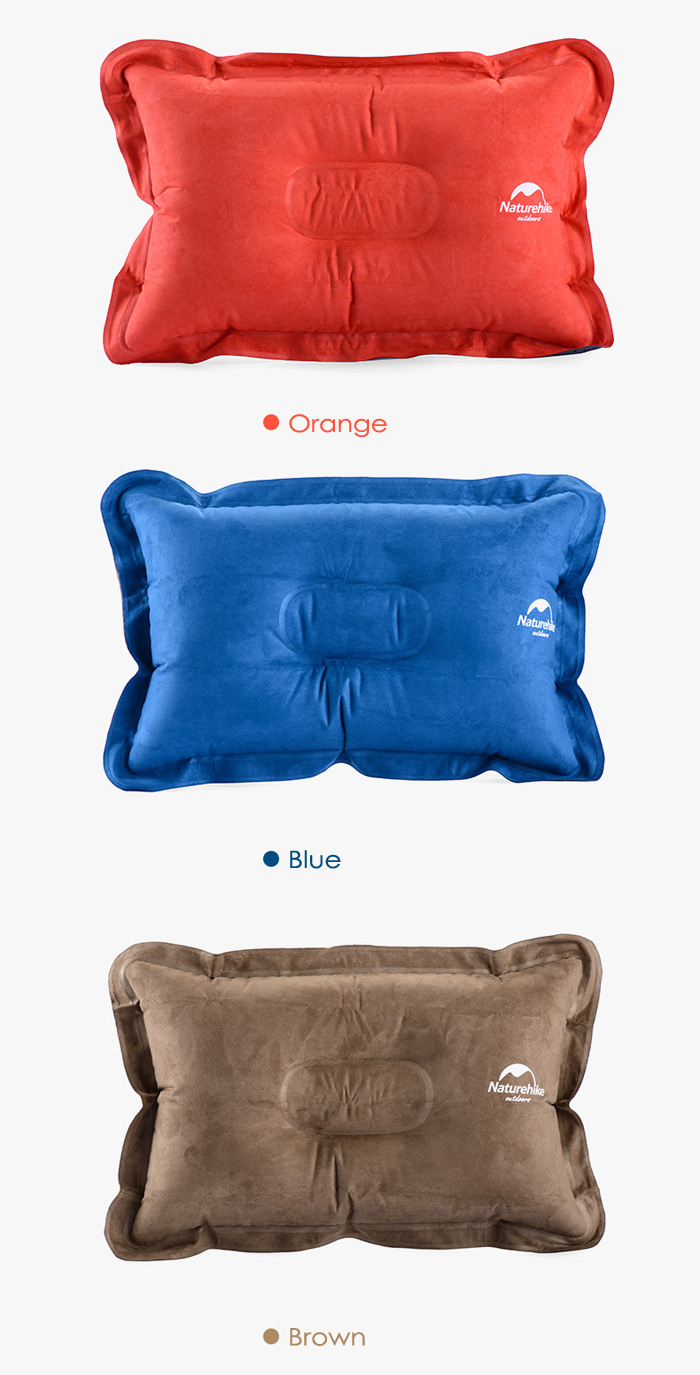 NatureHike Air Inflation Suede Fabric Pillow for Outdoor Camping Travelling Home Use