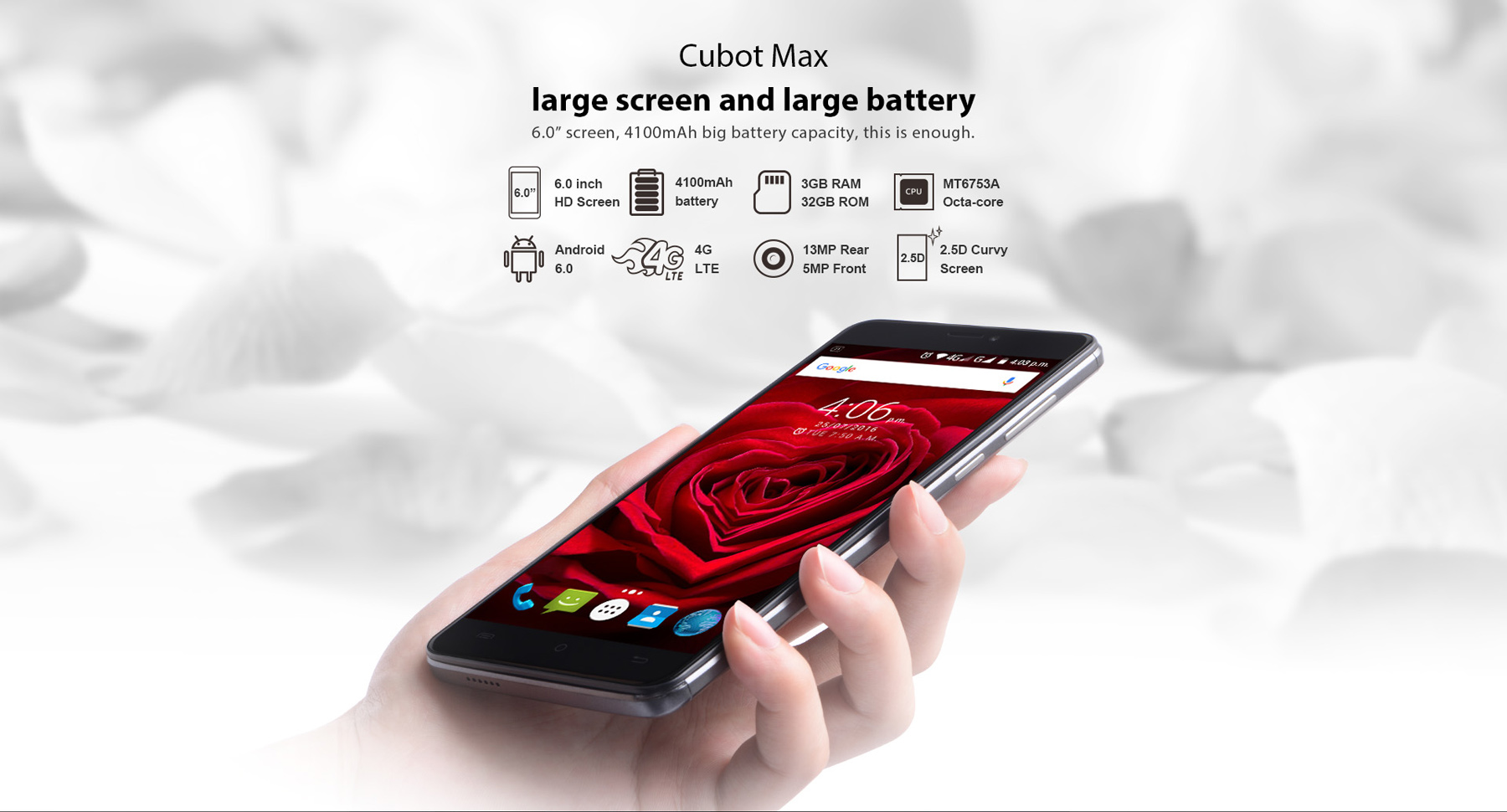 Cubot Max Android 6.0 6.0 inch 4G Phablet MTK6753 1.3GHz Octa Core 3GB RAM 32GB ROM OTG Hotknot GPS Bluetooth 4.0