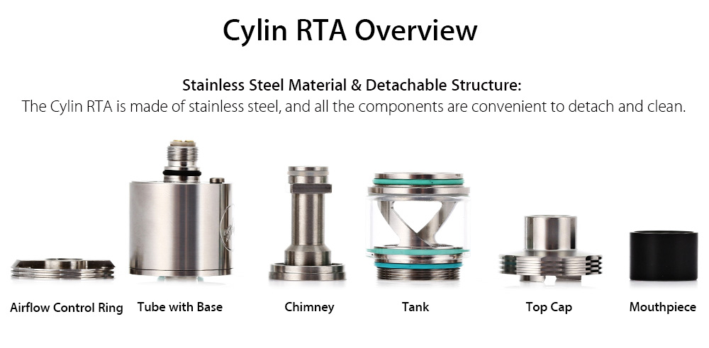 Authentic Wismec Cylin 3.5ml RTA Rebuildable Tank Atomizer with Innovative Notch Coil / Adjustable E-liquid Inlet for E Cigarette Atomizer