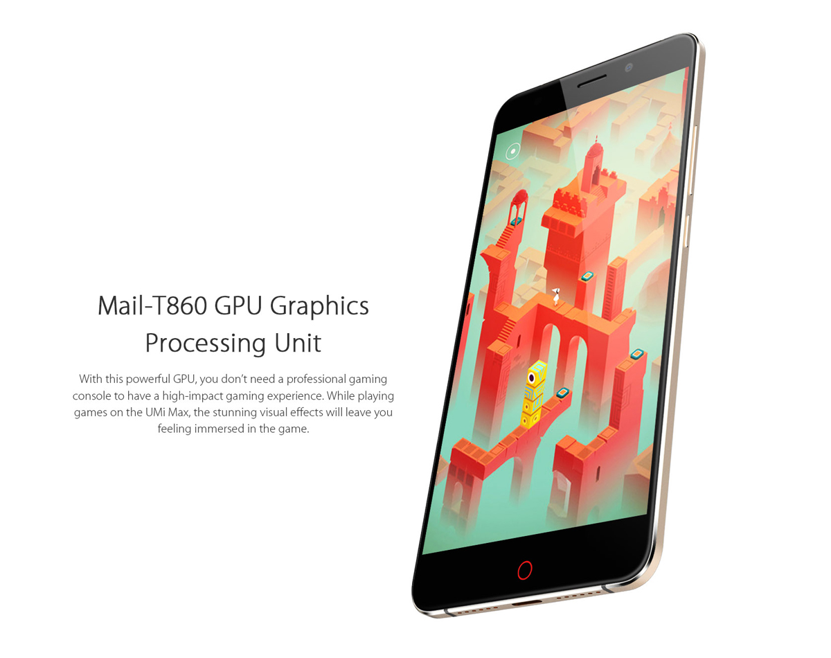 Umi Max Android 6.0 5.5 inch 4G Phablet Helio P10 Octa Core 1.8GHz 3GB RAM 16GB ROM Fingerprint Scanner HiFi Type-C Bluetooth 4.1