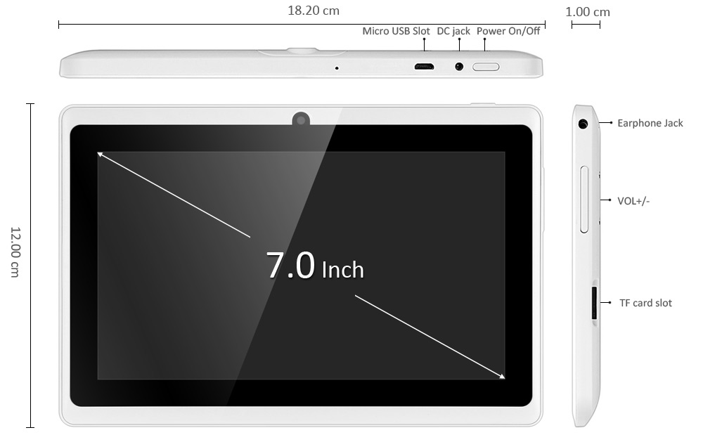 Q88H 7.0 inch Android 4.4 Kid Tablet PC WVGA Screen A33 Quad Core 1.3GHz 512MB RAM 8GB ROM WiFi Flashlight