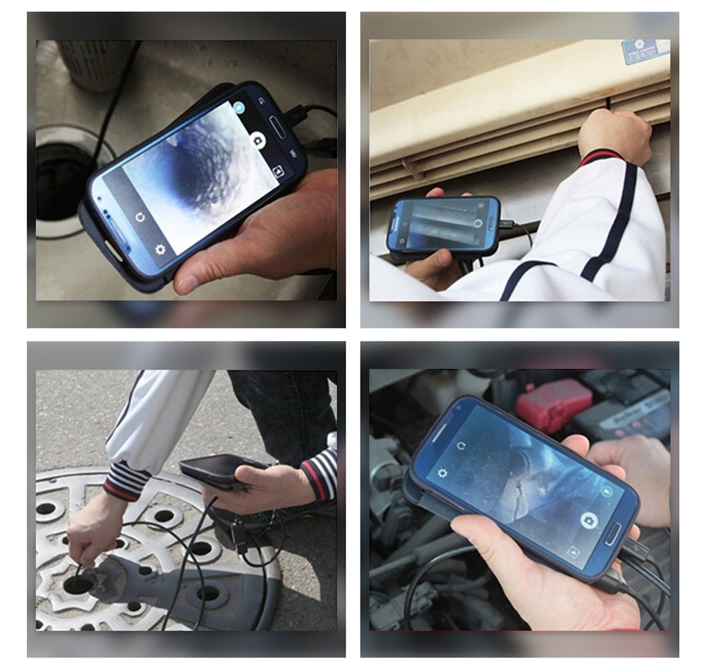 Flexible Hard Wired Waterproof IP67 3.5m Long Android Endoscope 7mm Lens Tube Snake Camera for Phone / PC