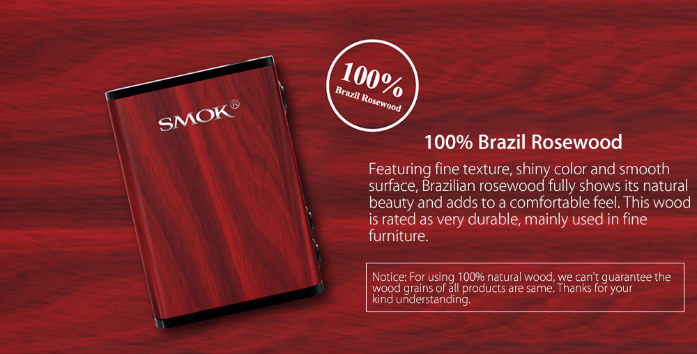 Original SMOK TREEBOX Plus 220W TC Box Mod with Brazil Rosewood Material / Supporting Ti / Ni200 / SS Wire / Firmware Upgradeable E Cigarette Vape Mod