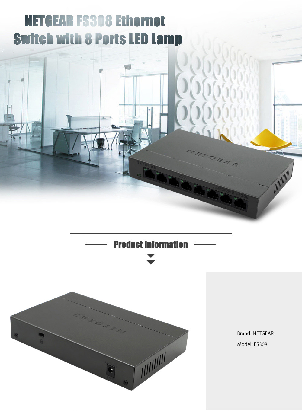NETGEAR FS308 Mini 8 Ports Desktop Ethernet Switch