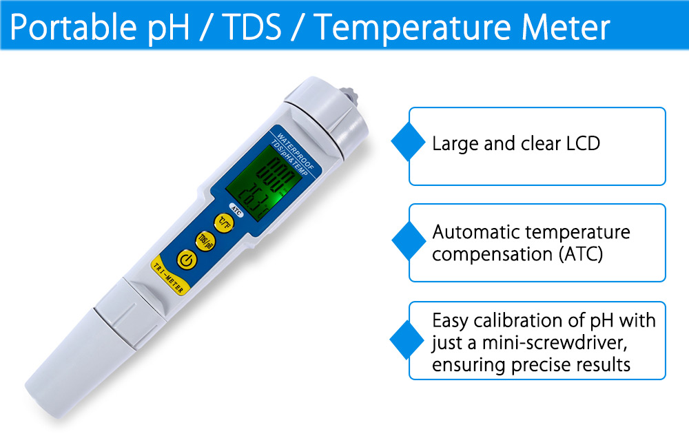 Portable pH / TDS / Temperature Meter Digital Pen Type Water Quality Tester