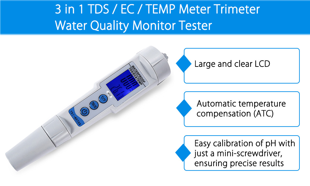 3 in 1 TDS / EC / TEMP Meter Trimeter Water Quality Monitor Tester