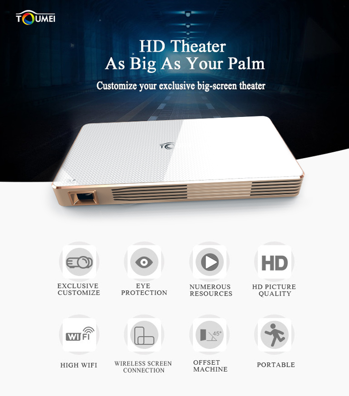 TOUMEI C800 DLP LED Projector Android 4.4 100 Ansi Lumens 854 x 480 Pixels 1080P Smart Media Player BT 4.0 WiFi Connectivity