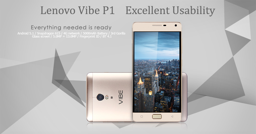 Lenovo Vibe P1 5.5 inch Android 5.1 4G Phablet with Snapdragon 615 64bit Octa Core 2GB RAM 16GB ROM FHD IPS Screen 5MP + 13MP Cameras Fingerprint