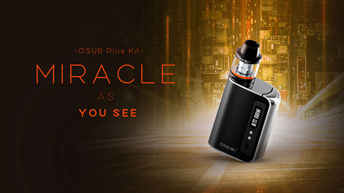 Original SMOK OSUB PLUS 80W TC Mod Kit with 3300mAh / 200 - 600F / Firmware Upgradeable / 3.5ml / 2 x 0.4ohm / V Shaped Airflow Channel Drip Tip Tank Atomizer Clearomizer for E Cigarette