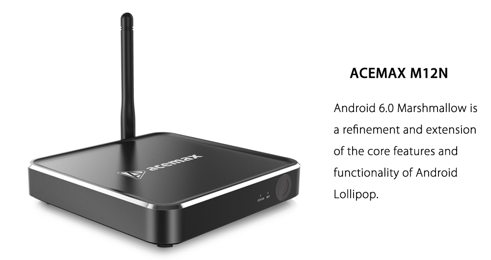 ACEMAX M12N Smart TV Amlogic S912 Octa Core Android 6.0 2.4G + 5.8G Dual Band WiFi 4K x 2K H.265 Decoding Bluetooth 4.1