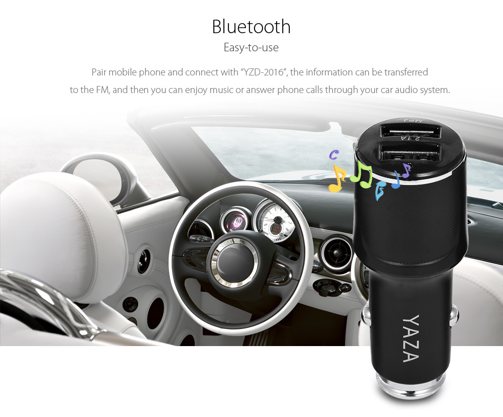 Original YAZHIDA Multi-functional Bluetooth Car Receiver Charger FM Transmitter with Dual USB Interfaces