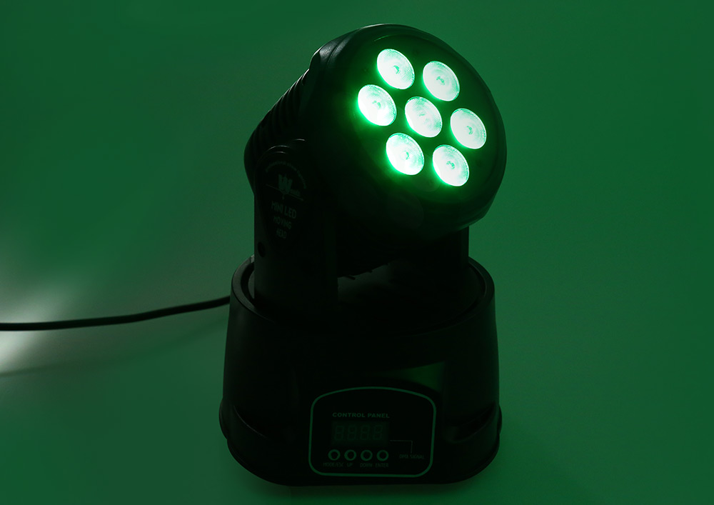 105W 7 x LED RGB Moving Head Stage Light with Voice Sensor