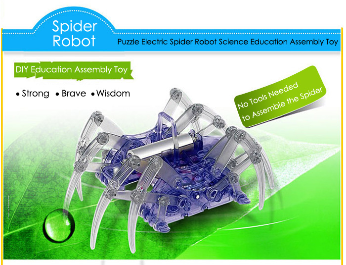 DIY Puzzle Electric Spider Robot Science Education Assembly Toy for Children