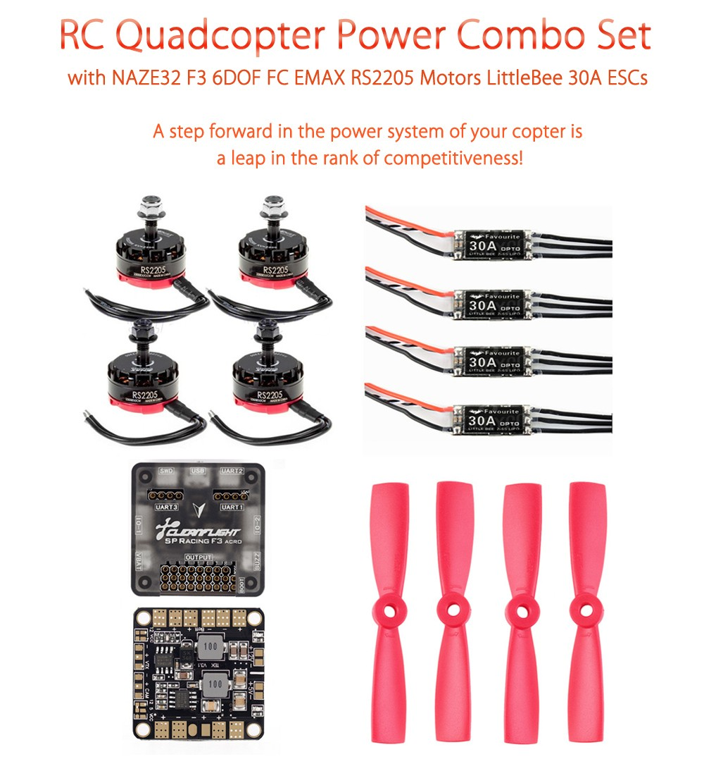 RC Quadcopter Power Combo with F3 6DOF EMAX RS2205 LittleBee 30A ESCs