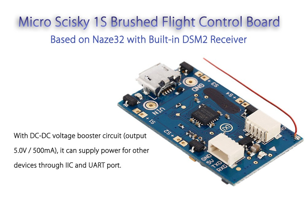 Micro Scisky 1S Brushed Flight Control Board Based on Naze32 with DSM2