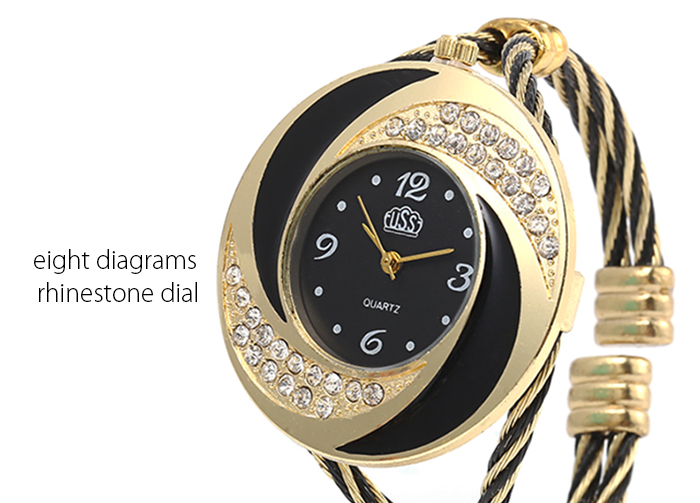 Cussi 45156 Simple Fashion Quartz Watch Bracelet with Rhinestone Dial for Lady