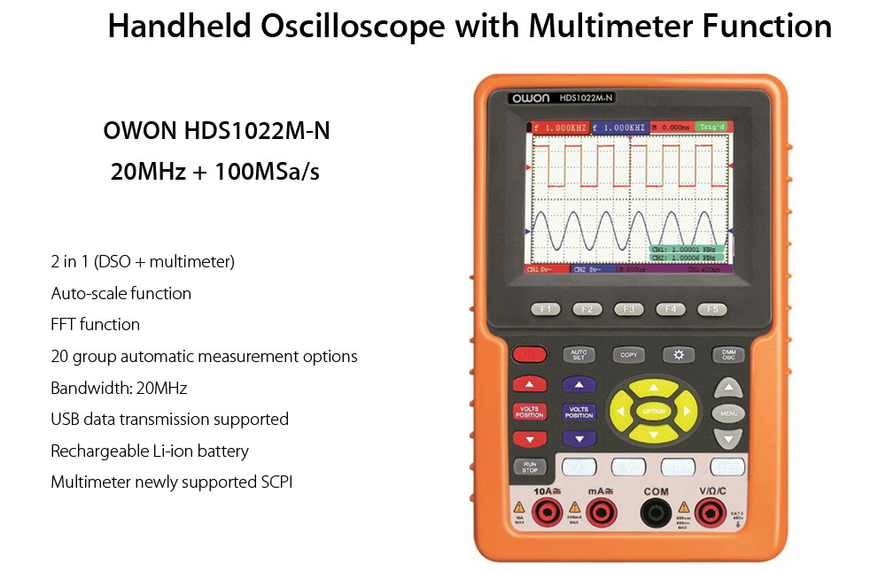 OWON HDS1022M - N Handheld Oscilloscope with Multimeter Function
