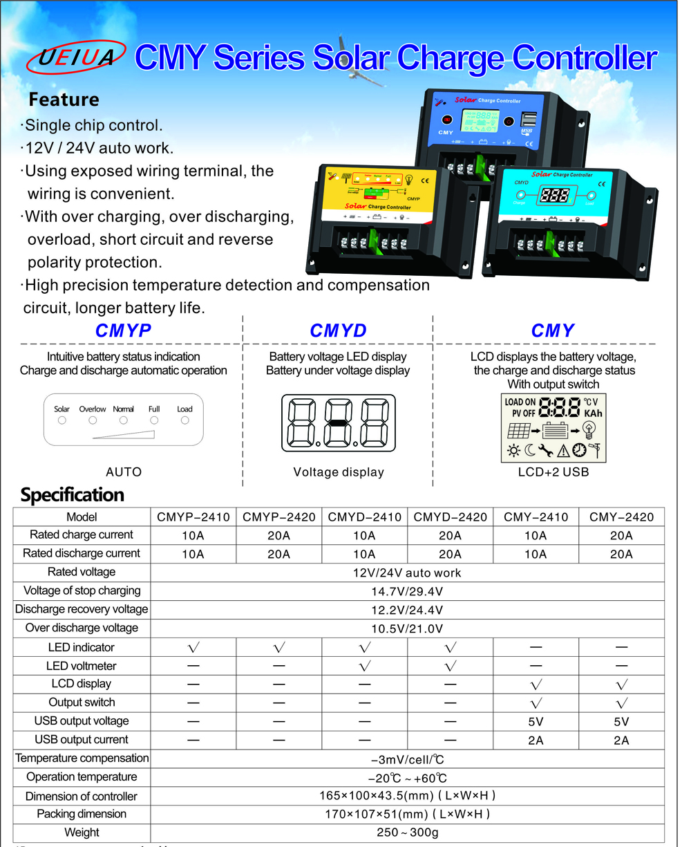 UEIUA CMYP - 2410 10A 12V / 24V PWM Solar Charge Controller Reverse Current Protection Monitor