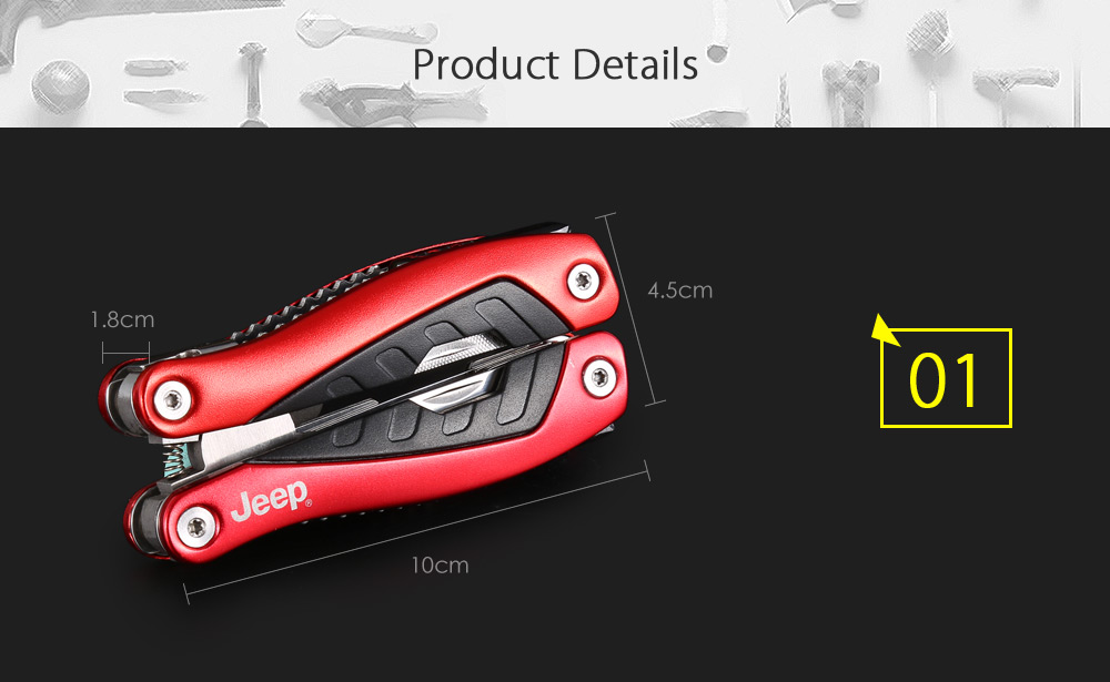 Jeep 56HRC Multifunctional Folding Pliers with Alloy Steel Pincers Slice