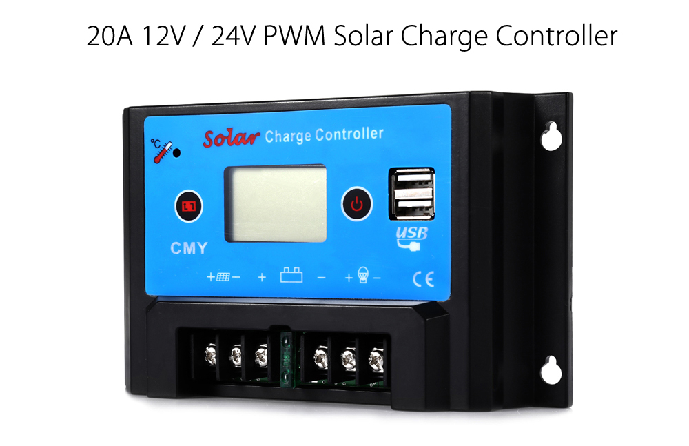 UEIUA CMY - 2410 Intelligent LCD 10A 12V / 24V PWM Solar Charge Controller with Dual USB Port