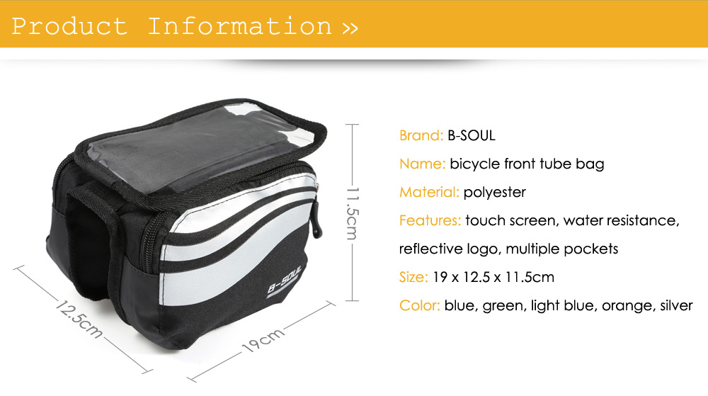 B - SOUL YA0205 Water Resistant 5.7 inches Bicycle Front Tube Bag Touch Screen