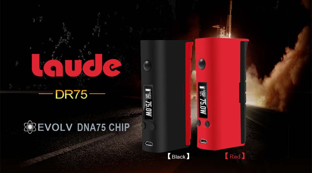 Original Laude DR75 75W TC Box Mod with DNA75 Chipset OLED Screen Supporting 18650 Battery for E Cigarette