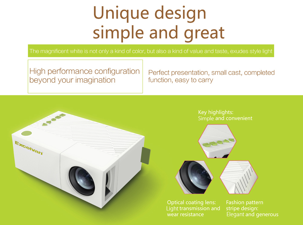 Excelvan YG310 LCD Projector 800Lm 320 x 240 Pixels 1080P Home Theater